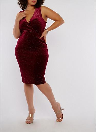 Plus Size Velvet Glitter Bodycon Dress,PLUM,large