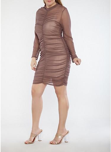 Plus Size Ruched Mesh Dress - Rainbow