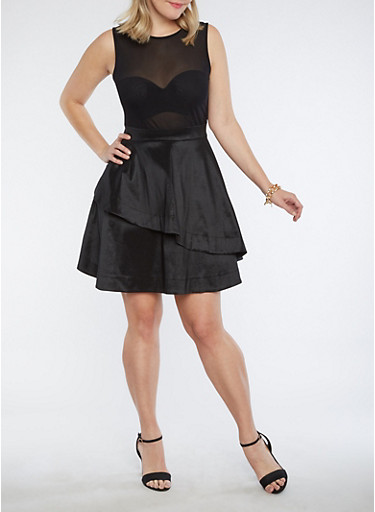 Plus Size Mesh Taffeta Dress,BLACK,large