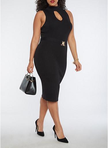 Plus Size Rib Knit Keyhole Belted Sweater Dress,BLACK,large