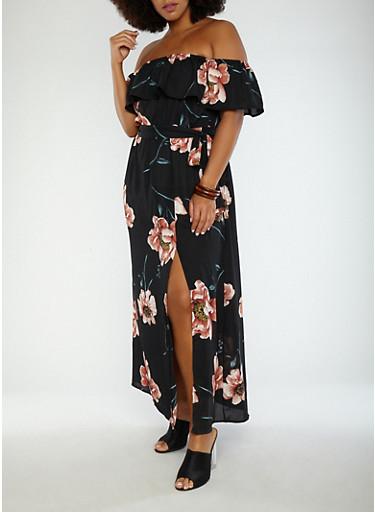 Plus Size Floral Off the Shoulder Maxi Dress,BLACK,large