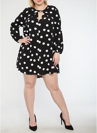 Plus Size Crepe Knit Polka Dot Shift Dress,BLACK/WHITE,large