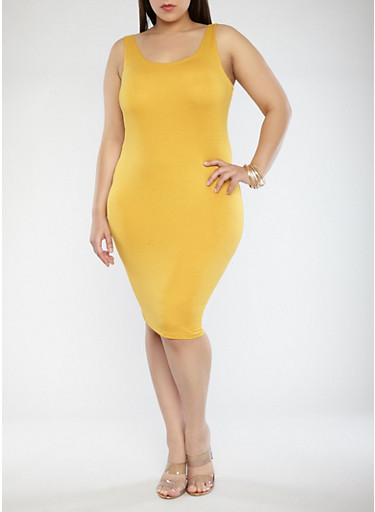 Plus Size Solid Tank Dress,YELLOW,large