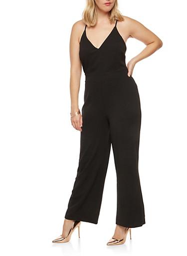 Plus Size Laced Open Back Jumpsuit,BLACK,large