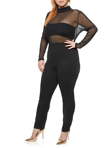 Plus Size Open Back Mesh Jumpsuit,BLACK,large