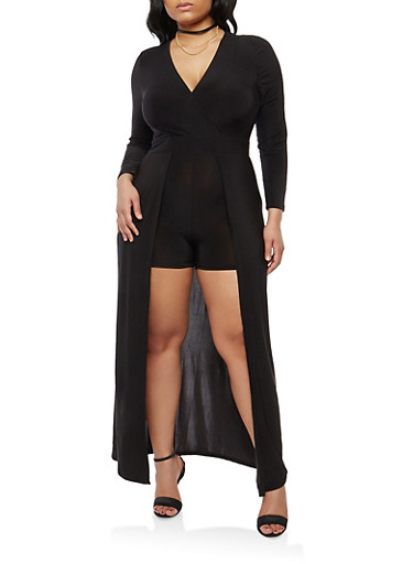 Plus Size Romper with Maxi Skirt Overlay,BLACK,large