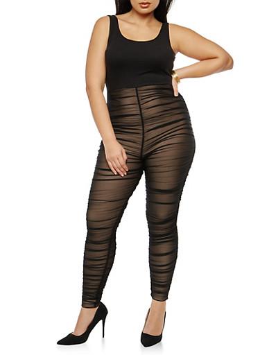 Plus Size Ruched Mesh Jumpsuit,BLACK BLACK,large
