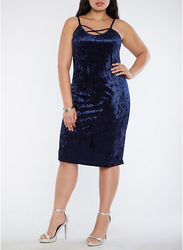 Plus Size Velvet Tank Dress with Caging,NAVY,large