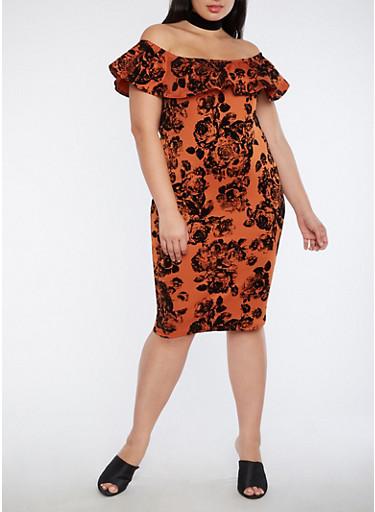 Plus Size Velvet Off the Shoulder Floral Dress,CLAY,large