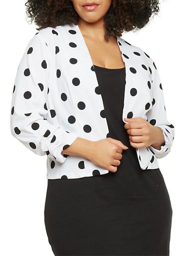 Plus Size 3/4 Sleeve Polka Dot Open Front Blazer,WHITE,large