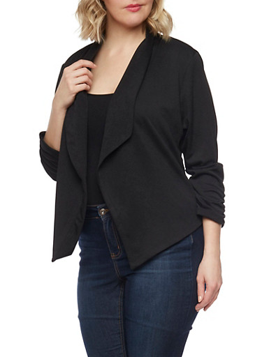 Plus Size Textured Knit Blazer with Ruched Sleeve Ends,BLACK,large