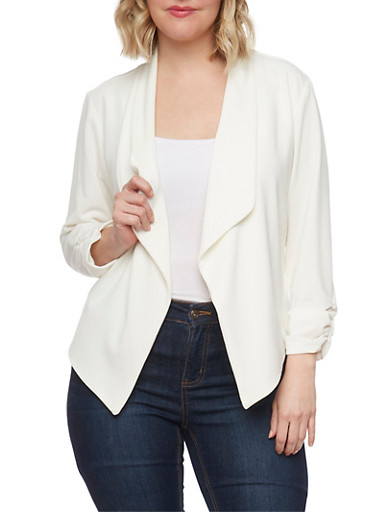 Plus Size Textured Knit Blazer with Ruched Sleeve Ends,IVORY,large