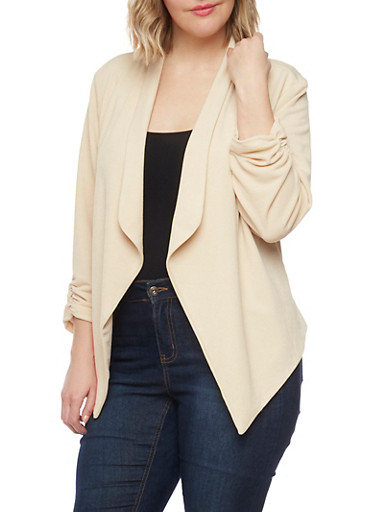 Plus Size Textured Knit Blazer with Ruched Sleeve Ends,KHAKI,large