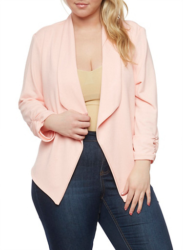 Plus Size Textured Knit Blazer with Ruched Sleeve Ends,BLUSH,large