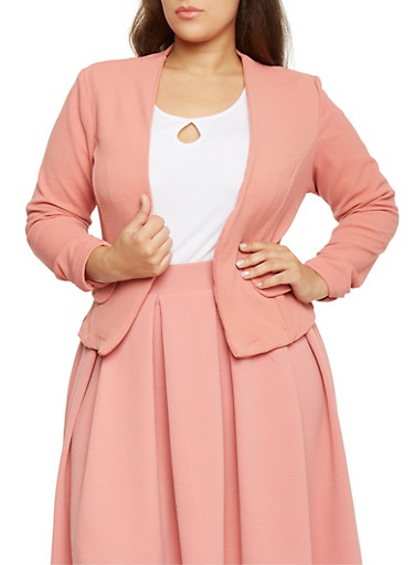 Plus Size Ruched Sleeve Crepe Open Blazer,PINK,large