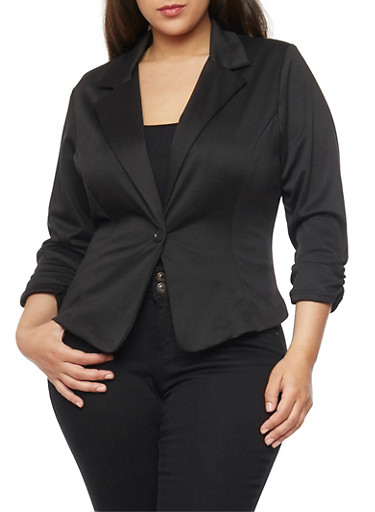 Plus Size Ponte Knit Blazer with Ruched Sleeves,BLACK,large