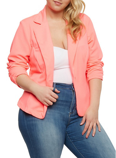 Plus Size Ponte Knit Blazer with Ruched Sleeves,NEON PINK,large