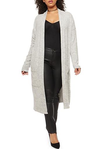 Plus Size Open Front Fleece Duster,HEATHER,large