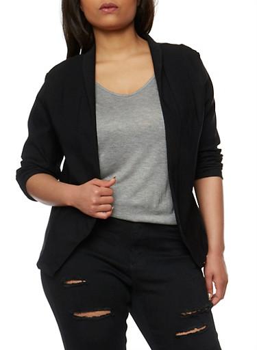 Plus Size Open Front Blazer,BLACK,large
