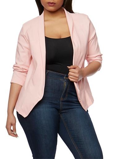 Plus Size Open Front Blazer,MAUVE,large