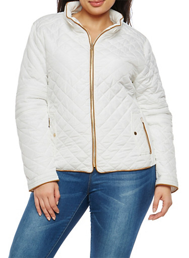 Plus Size Quilted Zip Jacket,WHITE,large