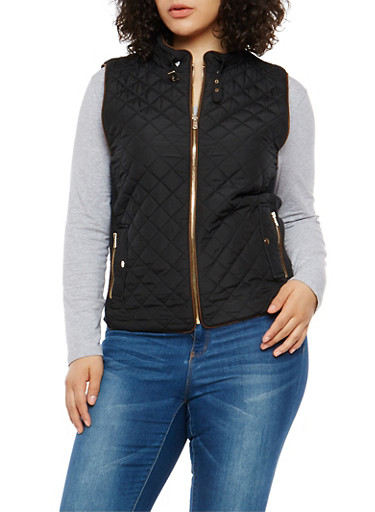 Plus Size Zip Up Quilted Vest,BLACK,large