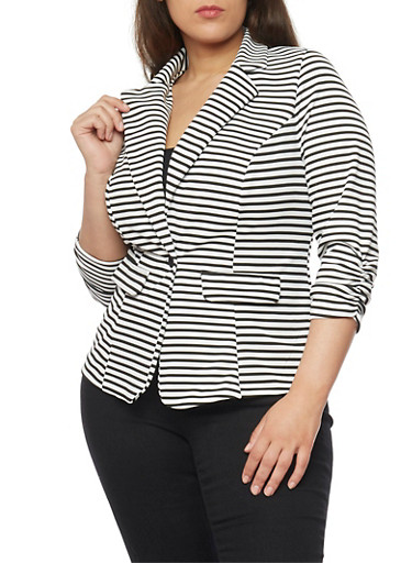 Plus Size Striped Knit Blazer with Ruched 3/4 Sleeves,BLACK/WHITE,large