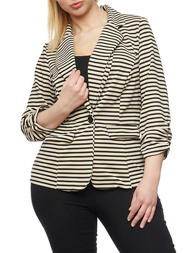 Plus Size Striped Knit Blazer with Ruched 3/4 Sleeves,BLACK STONE,large