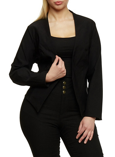 Plus Size Long Sleeve Open Front Blazer,BLACK,large