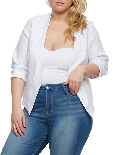 Plus Size Long Sleeve Open Front Blazer,WHITE,large