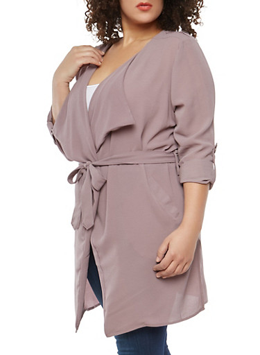 Plus Size Crepe Knit Tabbed Sleeve Duster,ASH MAUVE,large