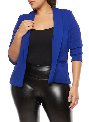 Plus Size Open Front Textured Knit Blazer,ROYAL,large