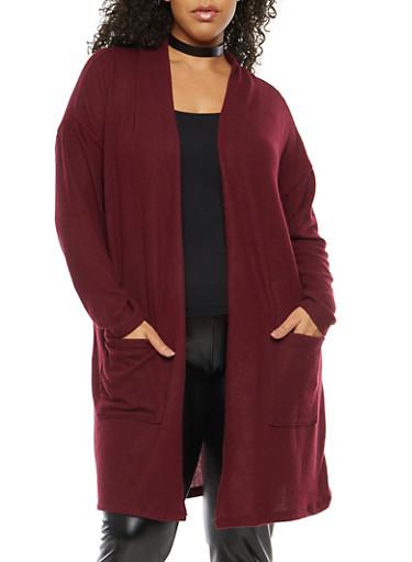Plus Size Soft Knit Drape Front Duster,BURGUNDY,large