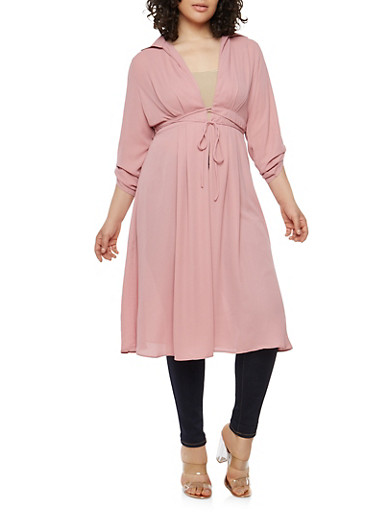 Plus Size Tabbed Sleeve Tie Waist Duster,ROSE,large