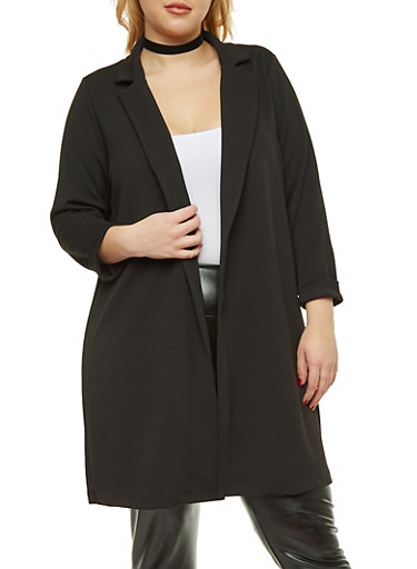 Plus Size Textured Knit Duster,BLACK,large