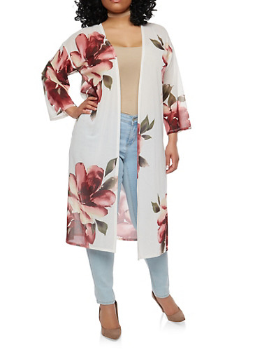 Plus Size Floral Mesh Duster,WHITE,large