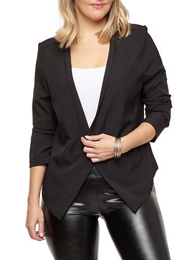 Plus Size Open Front Flyaway Blazer,BLACK,large