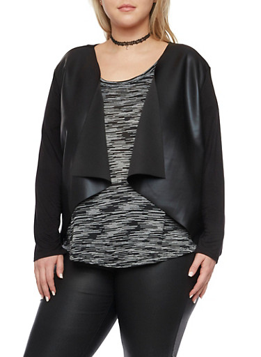 Plus Size Cardigan with Faux Leather Paneling,BLACK,large