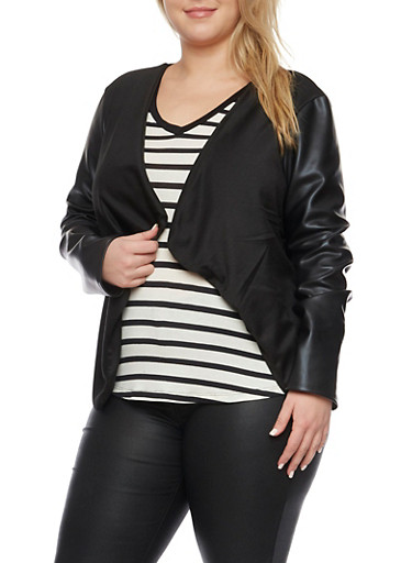 Plus Size Open Front Jacket with Faux Leather Sleeves,BLACK,large