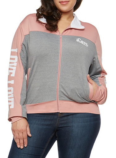 Plus Size Love Graphic Zip Jacket,HEATHER MAUVE,large