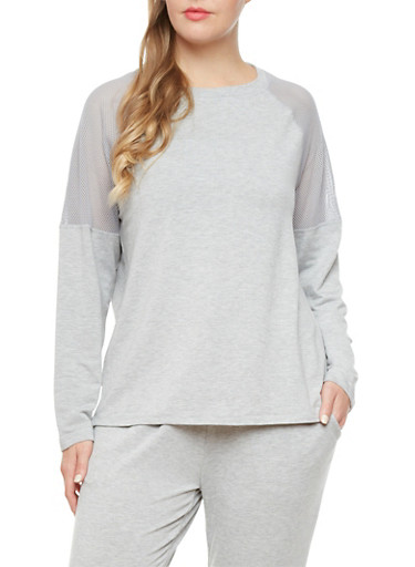 Heathered Plus Size Long Sleeve Raglan Mesh Accented Top,CHARCOAL,large