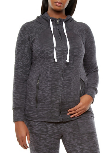 Plus Size Soft Marled Knit Hooded Zip-Up Sweatshirt With Long Sleeves,BLACK,large