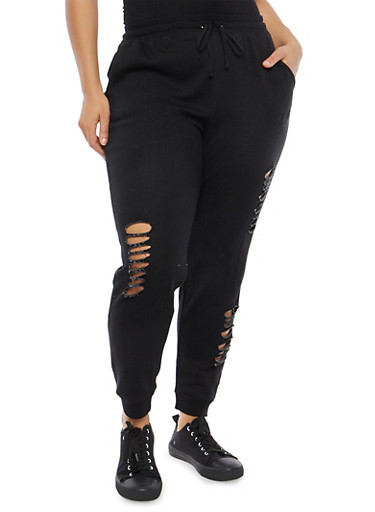 Plus Size Ripped Sweatpants,BLACK,large