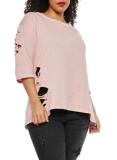 Plus Size Distressed High Low Sweatshirt,ROSE,large