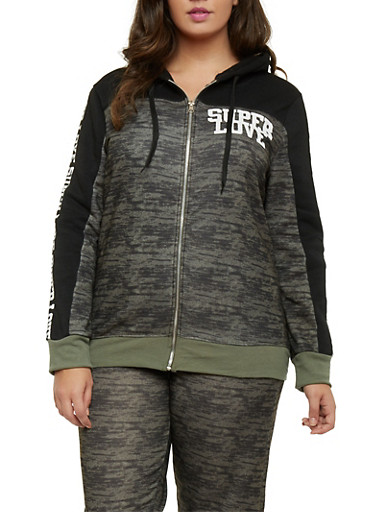 Plus Size Zip Hoodie with Super Love Graphic,OLIVE,large