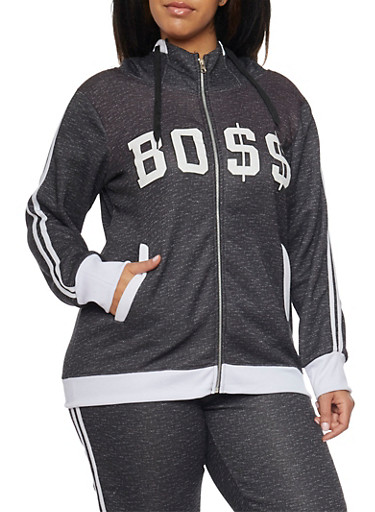 Plus Size Boss Graphic Hoodie,BLACK,large