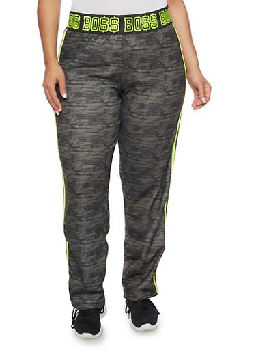 Plus Size Striped Boss Print Sweatpants,OLIVE,large