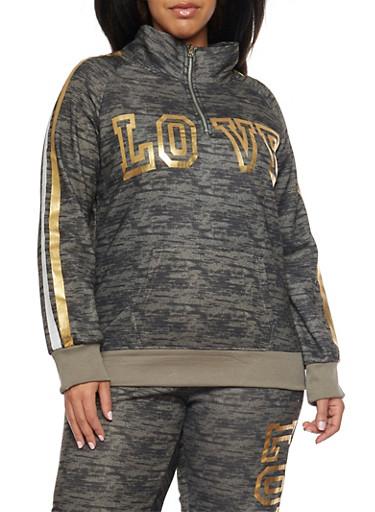 Plus Size Love Graphic Sweatshirt,OLIVE,large