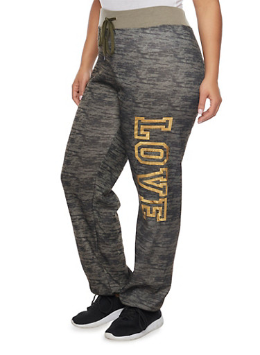 Plus Size Love Graphic Joggers,OLIVE,large