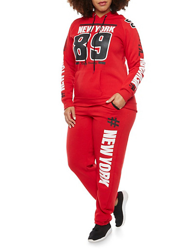 Plus Size Hoodie with New York 89 Graphic,RED,large